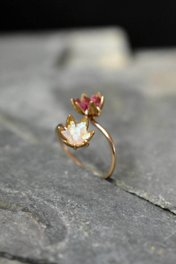Unique Opal Ring Lotus Flower Ring
