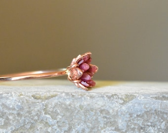 Rough Ruby Ring, Rose Gold and Ruby Ring, 40th Wedding Valentines Theme Gifts, Ruby Birthstone Jewelry, July Gemstone Lotus Flower Ring