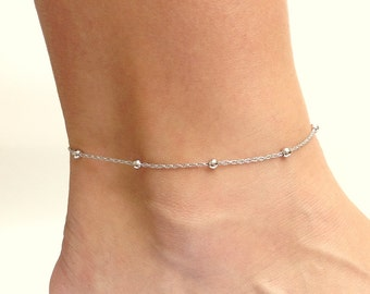 Chain Anklet, Silver Ankle Bracelet, Foot Bracelet, Dainty Silver Bracelet, Stacking Anklet, Simple Beaded Anklet, 11 and 12 Inch Anklet