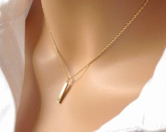 Vertical Bar Necklace, Short Bar Pendant Necklace, Dainty Bar Necklace, Gold Simple Necklace, Minimal Gold Necklace, Dangle Bar Necklace