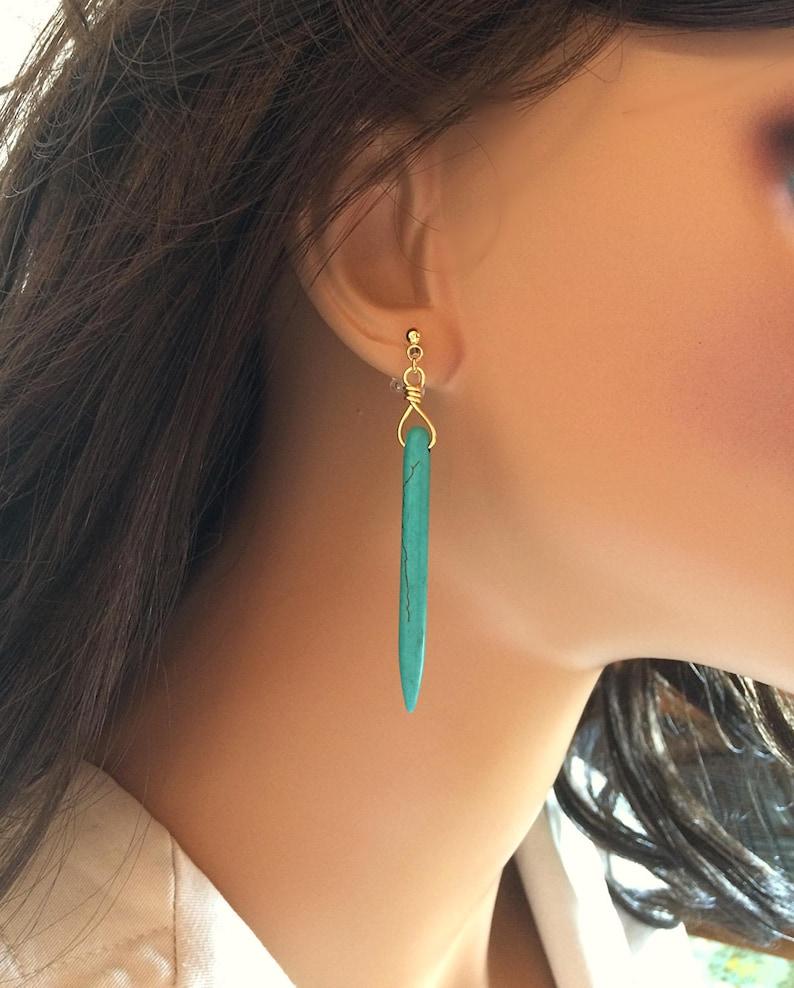 Turquoise Clip On Earrings Turquoise Dangle Earrings image 0