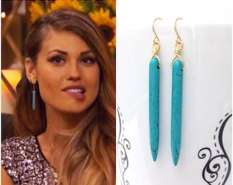 Turquoise Earrings Gold, Spike Earrings, Britt Earrings, Turquoise Gypsy Earrings, Gift For Women Under 25, Native American Jewelry