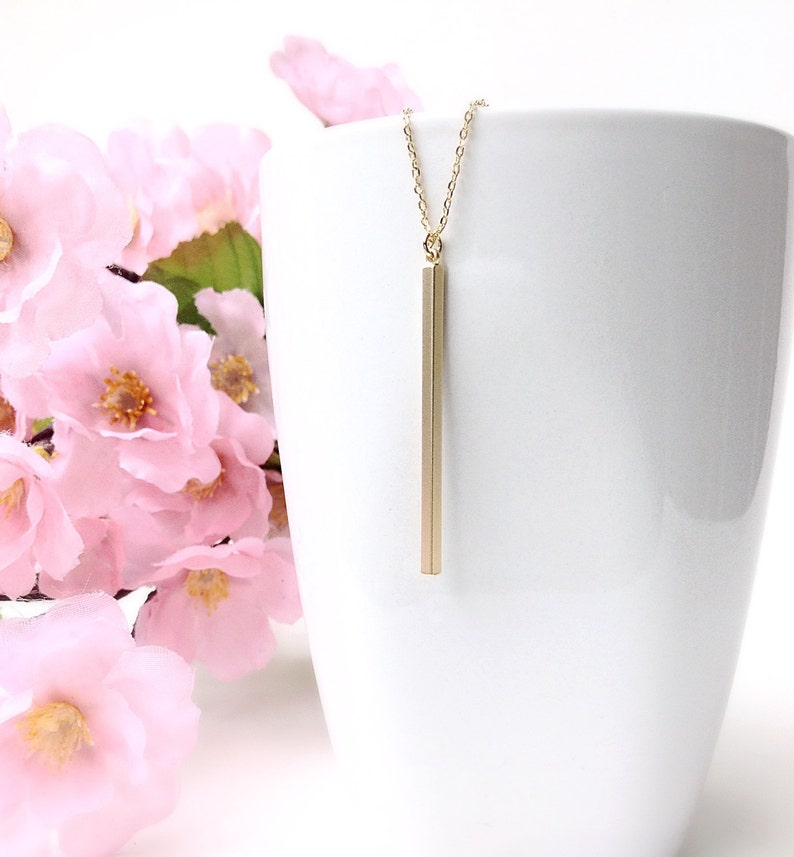 Layered Silver Necklace Skinny Gold Bar Necklace Vertical Bar Necklace Top Selling Gold Modern Everyday Necklace