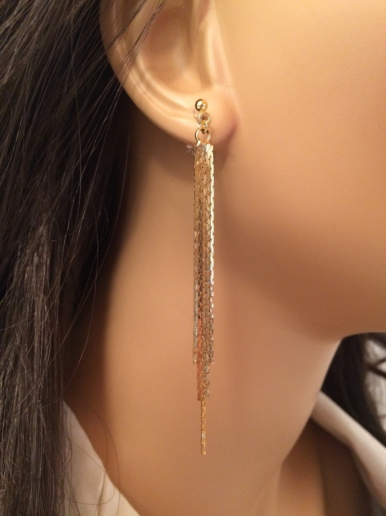 Acxico 1 Pair of Gold Long Tassel Chain Personalized Brushed Simple Earrings