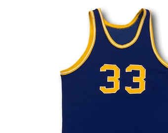 Vintage 60's Powers Athletic Wear Blue & Gold #33 Basketball Jersey Tank Sz 42