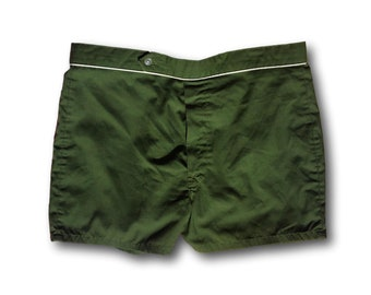 f9ef570efa Vintage 70's Green Button Front Summer Swim Trunks Shorts Made in USA