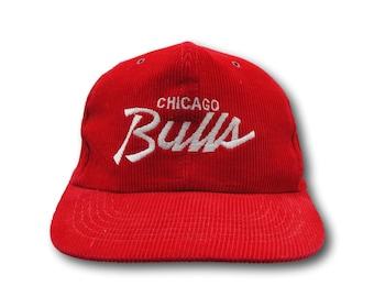 buy online f9c10 6ef6e Vintage CHICAGO BULLS Script Logo NBA Red Corduroy Michael Jordan Basketball  SnapBack Hat