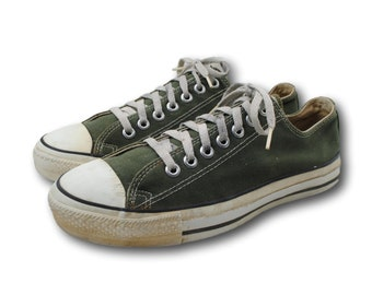 ca11b999314f Vintage USA Made CONVERSE All Star Green Canvas Low Top Sneaker Sz Men s  8.5   W 10.5 Made in USA