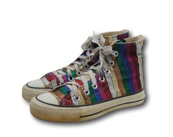 b816532c00b163 Vintage USA Converse All Star Chuck Taylor Glitter Stripe Canvas Sneakers  Sz Men s 3   Women s 5