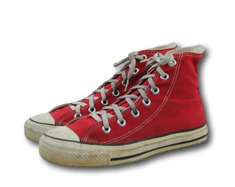 6ffd7b58b867 Vintage USA Converse All Star Chuck Taylor Red Canvas Hi Top Sneakers Sz 5   US Women s 7 Made in USA