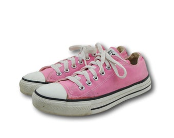 9438ce18f43729 Vintage USA CONVERSE Chuck Taylors Pink Canvas Low Top Athletic Sneakers  Shoes Sz 5.5   Wmns 7.5 Made in USA