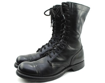 Men's CORCORAN Black Leather Cap Toe Split Sole Paratrooper Military Jump Boots 10 D