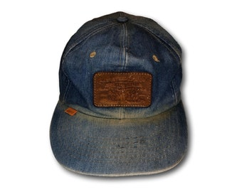 c3d01bba4f8 Vintage LEVI S Leather Patch Orange Tab Tag Denim Jean Snapback Hat Cap  Made in USA