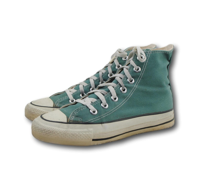 bf4dc9801ebb Vintage USA Made CONVERSE All Star Green Canvas High Hi Top