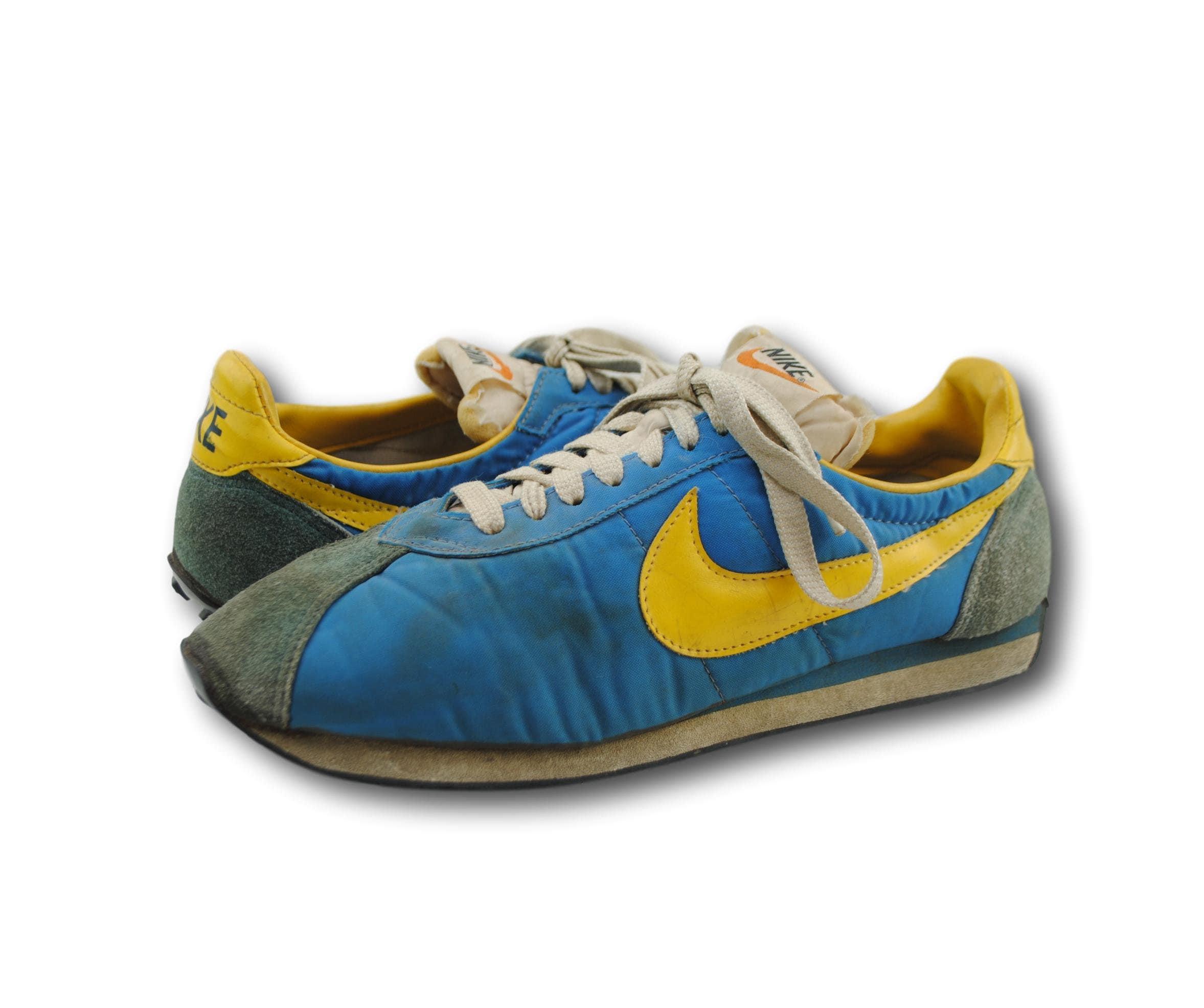 vintage 70 & # 39; s nike bleu et et et jaune gaufre formateur des chaussures de course baskets sz 9,5 fabriqués au japon. 95f542