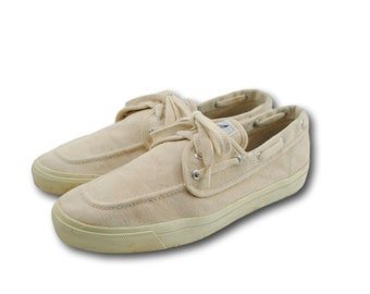 Vintage SPERRY TOP-SIDER Natural Canvas Boating Boat Deck Shoes Loafers Sz 11.5 M
