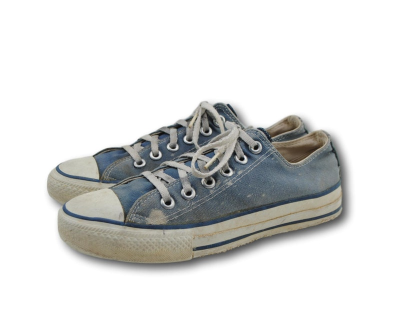 e7e0479227ee Vintage USA Made CONVERSE All Star Blue Canvas Low Top Sneaker