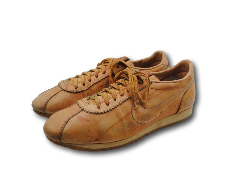 43204d24cbe4d Vintage 80's NIKE Le Village Brown Leather Lace Up Cortez Sneakers Shoes Sz  10.5 Made in USA