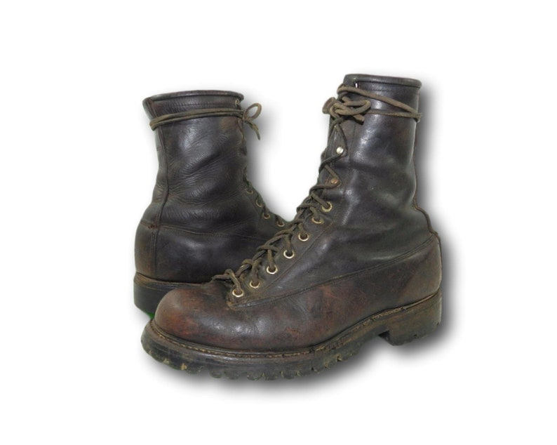 bd902066ad9 Vintage 50's SEARS WEARMASTER Oil Tanned Leather Monkey Ankle Work Boots  9-9.5