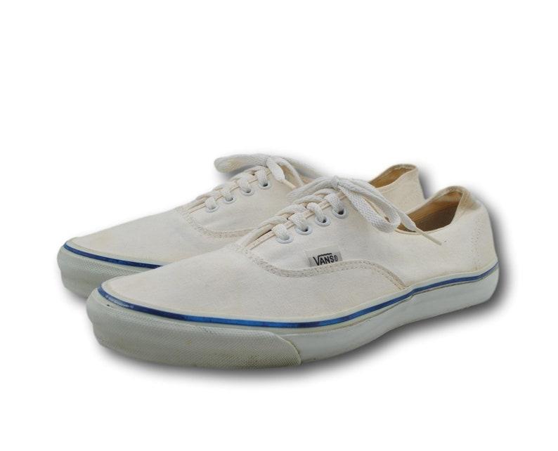 2ff96d66f7 Vintage VANS Style 44 Natural Canvas Sneakers Skate Shoes Sz