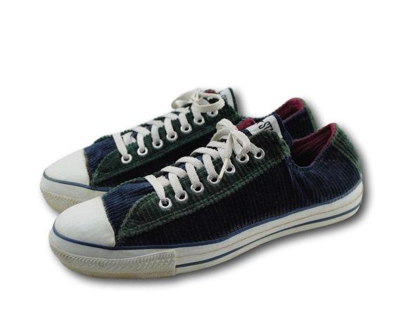 Vintage CONVERSE Chuck Taylors Tri color velours côtelé Low Top baskets chaussures SZ 8,5 Made in USA