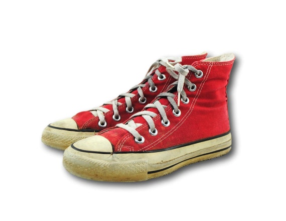 Vintage USA Converse All Star Chuck Taylor Red Canvas High Top Sneakers Sz 3.5 Women's 5.5