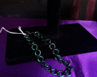 Teal and Black Floret Chainmaille Bracelet