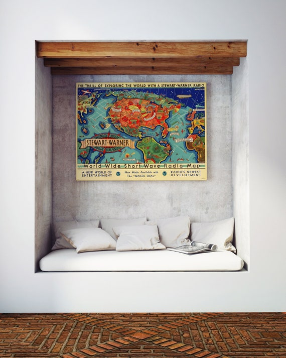 A4//A3 Poster Short Wave Radio Map Vintage Map Poster