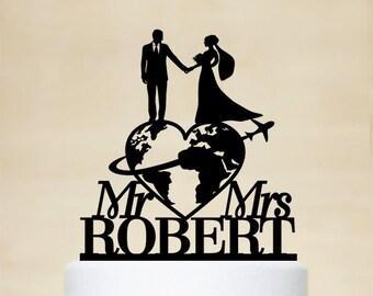 Travel themed Wedding Cake Topper, Mr & Mrs Cake Topper, Last Name Cake Topper, Personalized travelling Bride and Groom Cake Topper C171