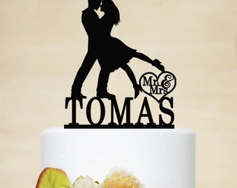 Wedding Cake Topper,Mr & Mrs Cake Topper With Last Name,Bride And Groom With Mr Mrs,Personalized Cake Topper,Couple Silhouette - P056