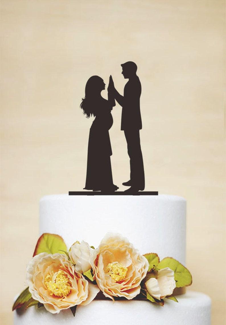4b7d3d49abc Embarazadas pastel de bodas topper, Topper de la torta, adorno de torta  personalizado, silueta de la novia y novio, divertido pastel de cumpleaños,  ...