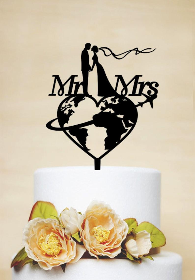 Free shipping Travel themed Wedding Cake Topper Custom Cake image 0