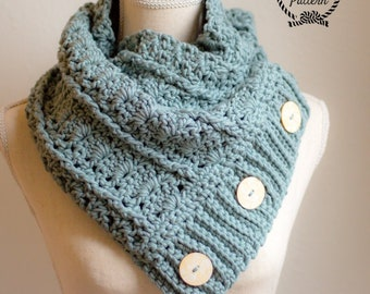 Elizabethan Crochet Cowl **Pattern Only. Crochet Cowl Pattern. Button Cowl Pattern. Crochet Scarf Pattern. Crochet Button Cowl. Chunky Scarf