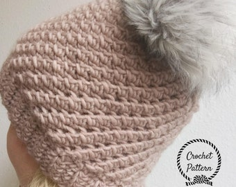 The Twisty Top Toque **Pattern Only. Crochet Slouch Pattern. Easy Crochet Beanie. Slouch Hat Pattern. Easy Slouch Beanie. Adult Hat