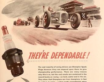 Vintage 1972 Champion Spark Plugs Pontiac Print Ad