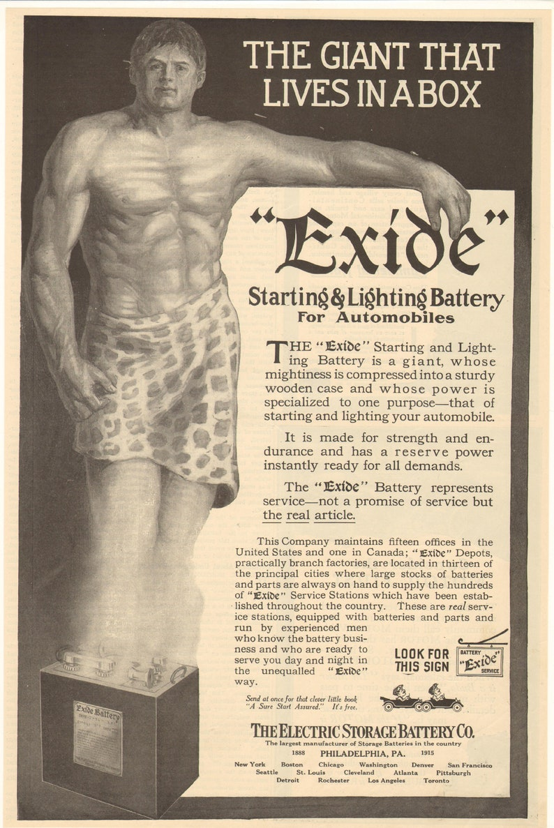 1915 Exide Starting /& Lighting Battery For Automobiles The Giant That Lives In A Box Vintage Ad