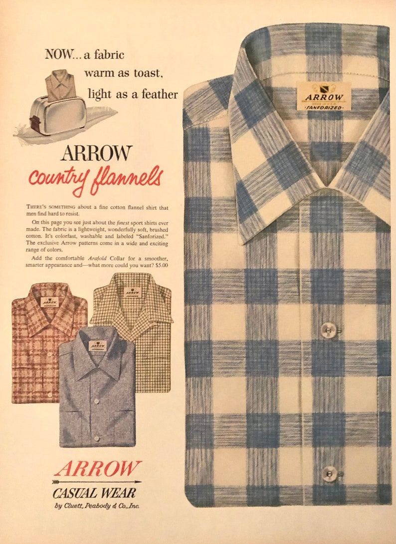 Vintage Print Ad 1954 Arrow Country Flannels Casual Wear Shirts Now.... Light As A Feather Fabric Warm As Toast