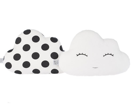 White Sleeping Cloud And Black Polka Dot Cloud Pillows Set Of Two, Cloud Cushion, Kids Pillow, Cloud Plush Toy, Baby Toy.