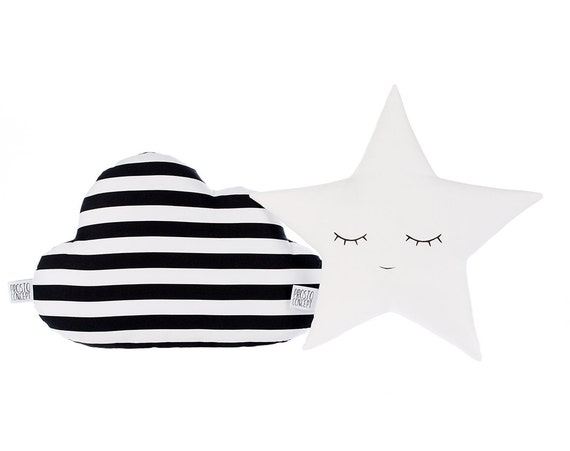 Set of cloud and star pillows, black/white striped cloud and white star, cloud cushion star cushion, kids pillows