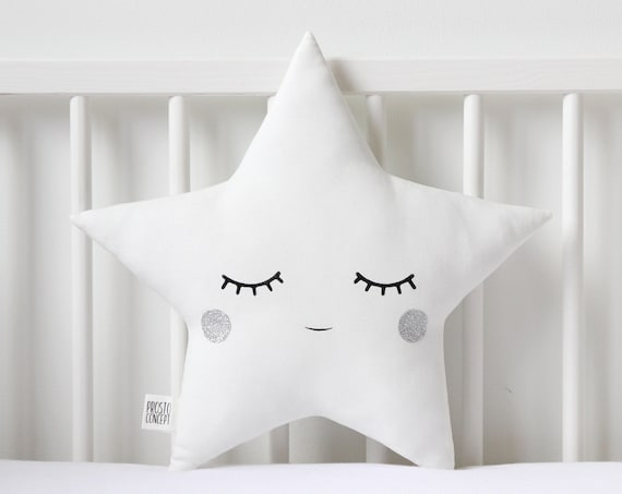 White and Silver Star Pillow Star Cushion twinkle twinkle little star nursery decor baby shower gift kids room baby boy nursery new baby