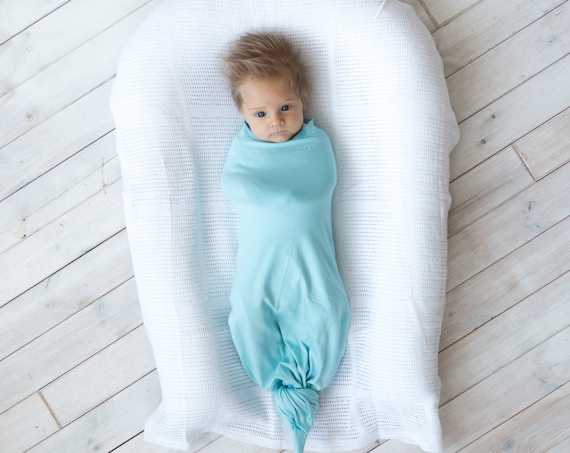 Newborn Baby Bamboo Swaddle Blanket Blue Mint
