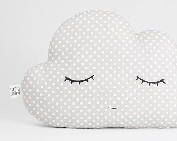 Cloud Pillow - Light Gray With A Beige Tint, Cloud Cushion, Kids Pillows, Child Pillows, Kids Room Decor, Baby Bedding.