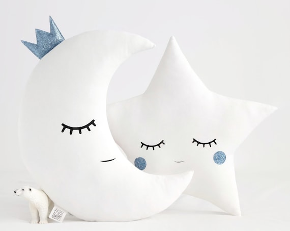 Baby Boy Nursery Decor Pillows - Moon and Star White With Blue, Kids Cushions