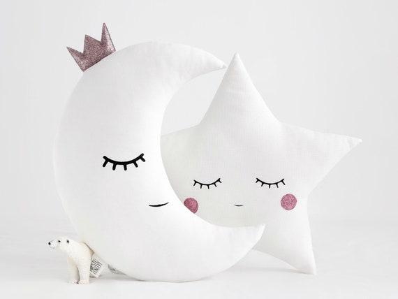 Star pillow and Moon pillow with pink glitter cheeks, baby pillow, nursery decor, kids pillows, star cushion, moon cushion, Christmas gift