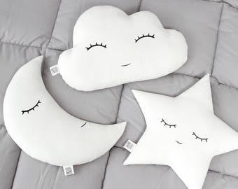White Nursery Decor SET   Star Pillow Cloud Pillow Moon Pillow Kids Room  Decor Baby Pillows Cloud Cushion Star Cushion Moon Cushion