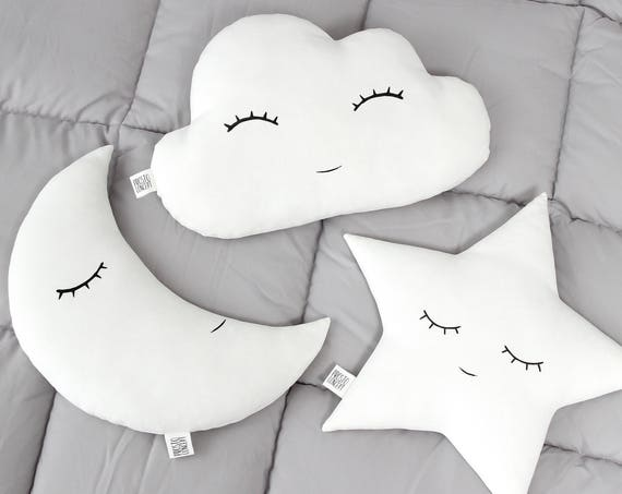 White nursery decor SET - Star pillow Cloud pillow Moon pillow kids room decor baby pillows cloud cushion star cushion moon cushion