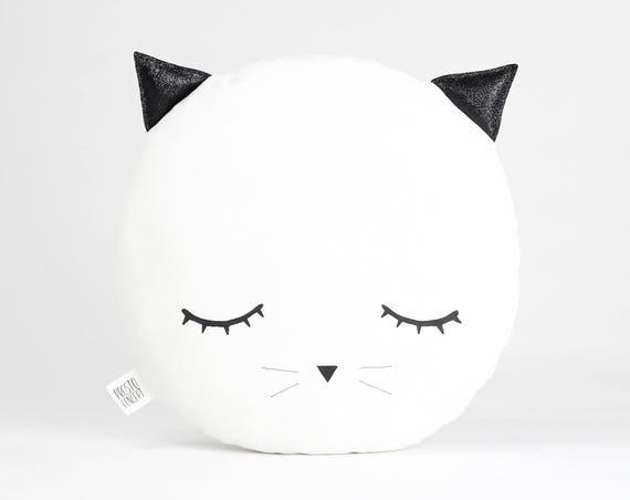 Sleepy Eyes Plush Cat Pillow, White Nursery Decor