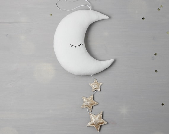 Moon Wall Hanging Star nursery mobile moon pillow baby crib mobile white nursery decor baby shower gift moon cushion baby gift baby room