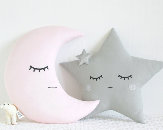 Pink Gray Silver nursery decor pillows / Moon cushion Star Cushion / Pillows for baby girl room / baby shower gift / unique birthday gift