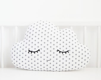 Cloud Pillow White With Gray Stars, Baby Boy Nursery Decor, Kids Teepee Accessories, Children Cushion For Toddler Room